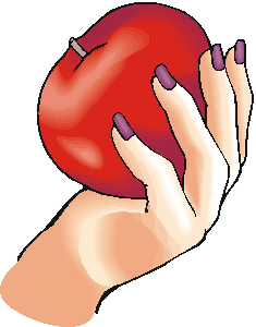 A lady's hand, holding an apple