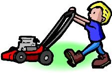 A boy mowing the lawn